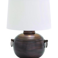 Hammered Design Metal Table Lamp with Two Ring Latches