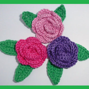 3 small crochet  roses and 6 leaves, appliques and embellishments