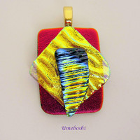 Sun Worshiper Handmade Dichroic Glass Pendant in Brilliant Layered Shapes and Colors Red, Yellow, Blue