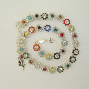 Swarovski CRYSTAL FLOWER necklace. Flower cabochons, multi colored, silver. Flower embellished