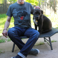 ALL SIZES Men's unisex soft Charcoal grey GImme Shelter Rolling Stones dog rescue t shirt Benefits Rescue efforts