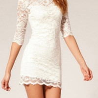 White Lace Bodycon Dress = 5739417473