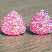 Druzy earrings-  Triangle iridescent hot pink druzy earrings