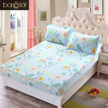 Bonenjoy Bed Sheet With Elastic Blue Flower Printed Bed Linen Queen Size Mattress Covers Fitted Sheet Sets For King Size Bed