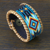 Native American Leather Bracelet Beaded In Green Turquoise With The Fire Colors Of The Southwest by LJ Greywolf