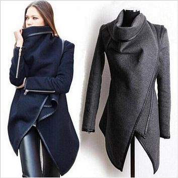 Women Trench Coat Long Cashmere Overcoats Trench Woolen Coat Female Warm Wool Long Sleeve Overcoat