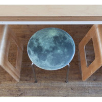 Full Moon Stool  – Space 1a – Moon Phase - New home gift – Birthday –  Gift for friend - Gift for child - space - lunar - wood