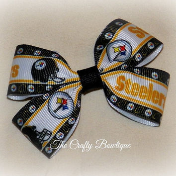 Pittsburg Steelers Small Boutique Hair Bow, Black Gold and White, Small Clippie Bow, Baby Steelers Bow, Small NFL Bow, Sports Team Bow