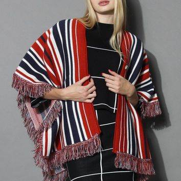 Indiana Stripes Tasseled Cape