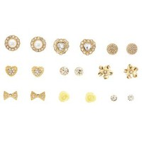 Gold Rosette & Rhinestone Stud Earrings - 9 Pack by Charlotte Russe