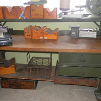 Rare Industrial Work Bench with Second by vagabondsandcaravans