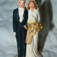 Vintage Bisque Red Head Bombshell Wedding Cake topper, Made in Japan, Bride and Groom
