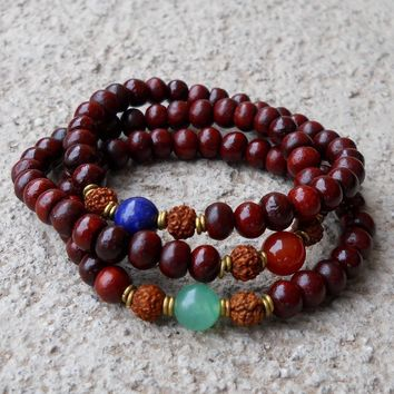 Genuine Rosewood Prayer Beads, Rudraksha, Aventurine, Lapis Lazuli, and Carnelian Guru Beads Mala Bracelet Set