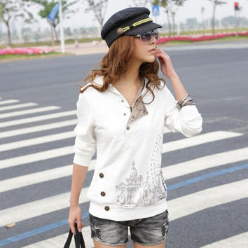 Women's Korean Style Fashion Long Sleeve Buttons Zipper Sweatshirt Tops T-shirt 7_S = 1920349764