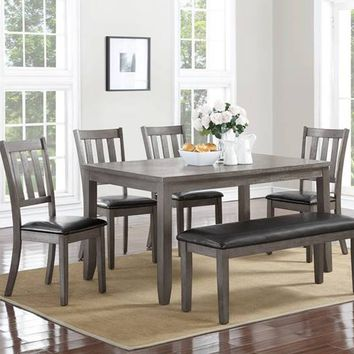 6 pc Cosgrove collection grey finish wood dining table set with chairs and bench