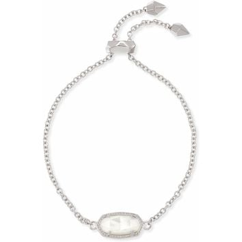 Kendra Scott: Elaina Silver Adjustable Chain Bracelet In Ivory Pearl