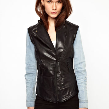 Denham Leather Jacket With Removeable Denim Sleeves