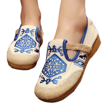 Flax Embroidered Old Beijing Cloth Shoes  blue   35
