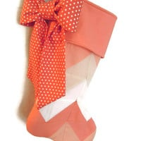 Chevron Pattern Quilt Stocking with Bow/ Polka dot Christmas Stocking, Peach Christmas Stocking