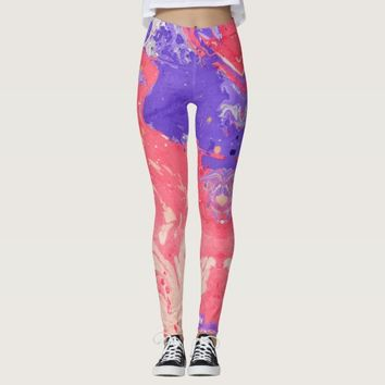 Pink Purple Marble Pattern Leggings