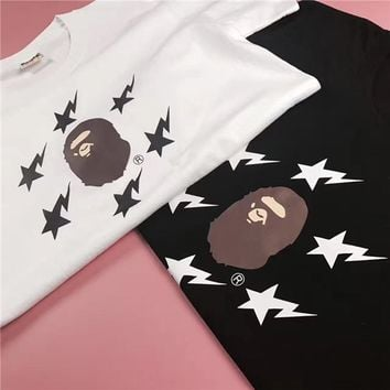Cotton Round-neck Short Sleeve Print T-shirts [11192331015]