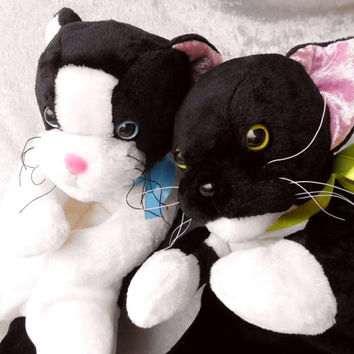TUXEDO Cat COUPLE plush Wedding Favor black and white cats Bride Bridegroom stuffed animal floppy kitten soft toy Handmade Made to ORDER