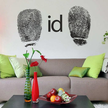 I176 Wall Decal Vinyl Sticker Art Decor Design ID fingerprint individual code pattern hand divination modern prison boy Living Room Bedroom