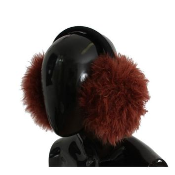 Dolce & Gabbana Red Shearling Alpaga Wool Ear Muffs
