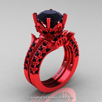 Exclusive French 14K Red Gold 3.0 Ct Black Diamond Solitaire Wedding Ring Wedding Band Set R401S-14KREGBD
