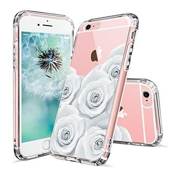 iPhone 6s Case, iPhone 6 Case for Girls, MOSNOVO White Roses Floral Printed Flower Clear Design Transparent Plastic Hard Slim Back with TPU Bumper Protective Cover for Apple iPhone 6 6s (4.7 Inch)