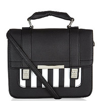 Black Stripe Print Panel Mini Satchel