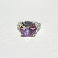 Pink Crystal Ring, AB Pink Swarovski Crystal Stretchy Cocktail Ring for Mothers Day
