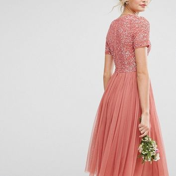 Maya Tall Plunge Neck Embellished Top Midi Dress With Tulle Skirt at asos.com