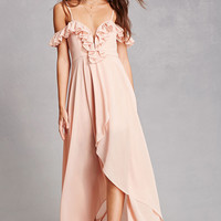 Ruffled Chiffon High-Low Dress
