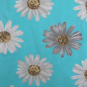 Vintage 1970s Flower Power Turquoise Cotton Canvas Fabric with Large White & Gray Daisies, Crantex Fabric, BY the YARD, Victorian Wardrobe