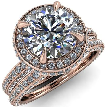 Amira Round Moissanite 4 Prong Side Accent Halo Ring