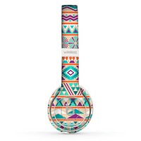 The Tan & Teal Aztec Pattern V4 Skin Set for the Beats by Dre Solo 2 Wireless Headphones