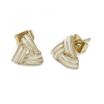 Gold Layered Stud Earring, Love Knot Design, Gold Tone