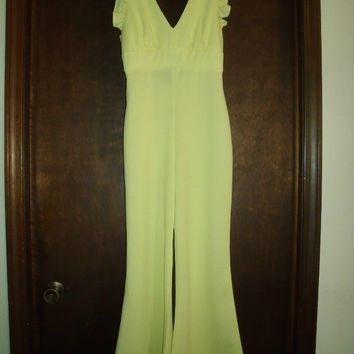 Vintage Jumpsuit Yellow Circa 1970s Bell Bottom Unmarked Small Disco Cool