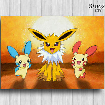 jolteon pokemon print painting plusle minun pokemon favors