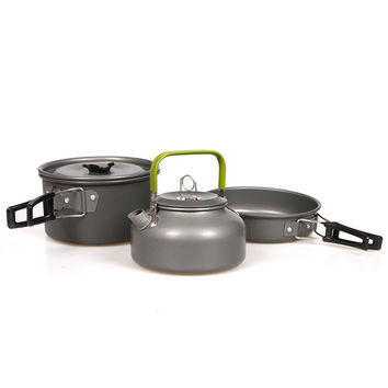 2-3 People Portable Outdoor Camping Cooking Set Teapot Coffee Kettle Cooking Pots and Pans Outdoor Tablewares
