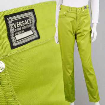 Vintage 90s Gianni VERSACE Jeans Couture Lime Green Mom Jeans High Waist Pants Cigarette Pants Tapered Leg Slim Fit Designer Made in Italy