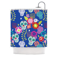 """Anneline Sophia """"Day of the Dead"""" Blue Aztec Shower Curtain"""