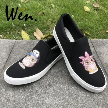Wen Slip on Flat Canvas Shoes White Black Color Original Design BOY Hat Pink Bow knot Owl Babies Shoes Men Women Sneakers