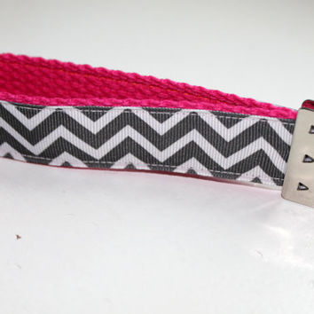 Chevron Key Fob Key Chain Wrislet Pink and Grey