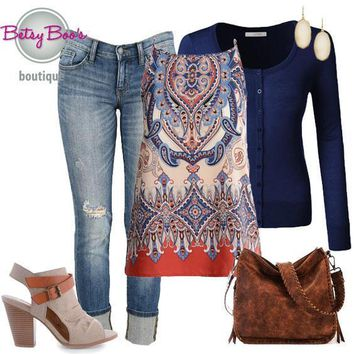 (pre-order) Set 323: Navy Elegant Print Tank with Cardy (incl. tank, cardy & earrings)
