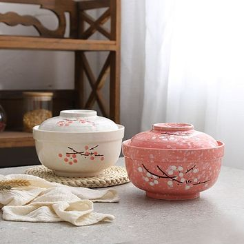 Ceramic Floral Noodle Bowl & Lunch Box
