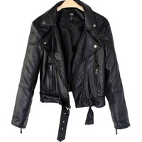 Leather Look Quilted Biker Jacket with Notched Lapels