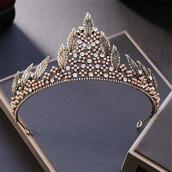 Pearls Leaf Crown Tiara Wedding Hair Accessories Luxury Baroque Rhinestone Cosplay
