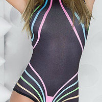 Blacklight Reactive Neon Striped Black Glow Romper